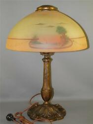 Antique Signed Pittsburgh Table Lamp Hand Painted Scenic Glass Shade