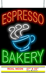 Large Espresso Bakery Neon Sign   Jantec   27 X 32   Coffee Shop Light Donuts