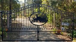 Wrought Iron Style Steel Driveway Entry Gate 12and039 Wd Home Yard Garden Security