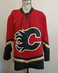 Vintage Calgary Flames Ccm Jersey Hockey Nhl Red Size Small