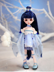 28cm 1/6 Bjd Doll Ball Joint Doll Ancient Fairy Style Blue Dress Outfit Xmas Toy
