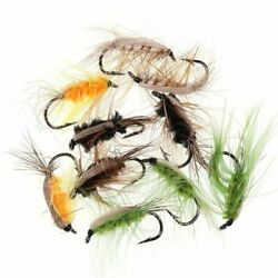 Fly Fishing Lures 6pcs Deer Hair Beetle Trout Woolly Worm Nymph Stream Accessory