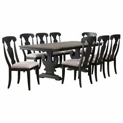 Frates 9 Piece Extendable Dining Set Black And Brown Wood Table And 8 Chairs