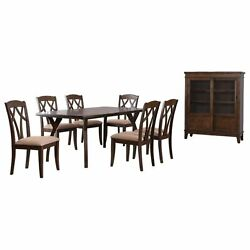 Mindy 8 Piece Cherry Wood Contemporary Dining Set, Table, 6 Chairs, Curio