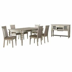 Zaria Champagne Wood 8 Piece Extendable Dining Set Table 6 Chairs Server