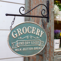 New Farmhouse Teal Blue Pantry Double Sided Grocery Sign Wall Bracket Hanging