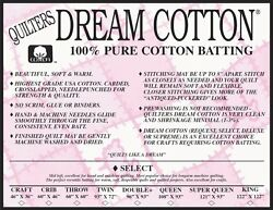 Quilters Dream Cotton Natural Select Loft Sampler Crafting Quilt Batting