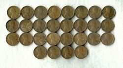 1923 S Lincoln Wheat Cent Partial Roll Vg-f 28 Coins Better Date