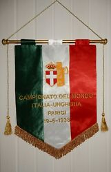 Gagliardetto World Cup Final 1938 Italy - Hungary Match Pennant