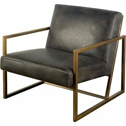 Black Leather Seat W/gold Metal Frame Accent Chair
