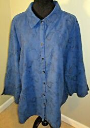 Sag Harbor Blue And Black Embroidered Stretch Micro-suede Blouse Plus Size 3x Euc
