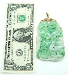 Incredible Solid 14k Yellow Gold / Over Size Carved Jade Jadite Fish Lg Pendant