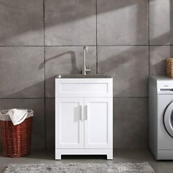 24 White Laundry Utility Cabinet W/ Stainless Steel Sink And Faucet Combo