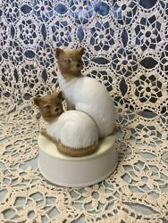 Siamese Cat Kitten Music Box Mann Vintage 1984 Memory From Musical Cats
