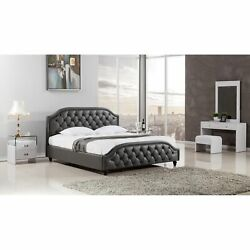 Wooden California King Size Bed With Button Tufted Leatherette Headboard Dar...