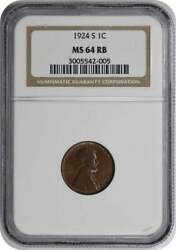1924-s Lincoln Cent Ms64rb Ngc