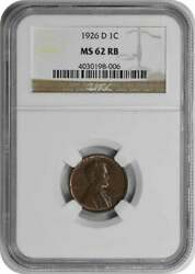 1926-d Lincoln Cent Ms62rb Ngc