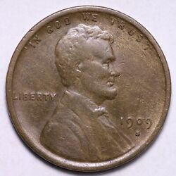 1909-s Vdb Lincoln Wheat Cent Penny Choice Xf+ Free Shipping E570 Tblm