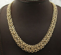 Bold Graduated Bumble Bee Chain Necklace W/ Senora Lock Real 10k Yellow Gold