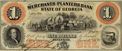 1 Merchants Planters Bank State Of Georgia1859 Obsolete Currency