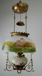 Victorian 1880and039s Bradley And Hubbard Hanging Parlor Oil Lamp/ Ceiling Chandelier