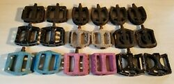 Old / Mid School Bmx Parts Lot Of Pedals 1/2 And 9/16 Primo Mission Felt Dk Vp
