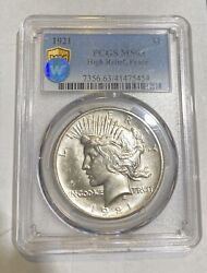 Peace Silver Dollar 1921 P Pcgs Ms-63 Sight White