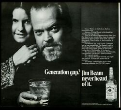 1970 Orson Welles Photo And His Daughter Jim Beam Bourbon Whiskey Print Ad