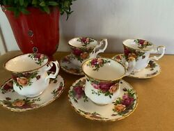 Four Vintage Royal Albert Bone China Old Country Roses Demitasse Cups And Saucers