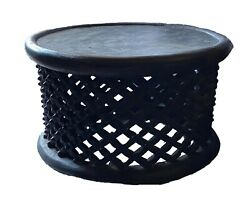 Superb Old African Spider Bamileke Wood Table/ Stool 17. H By 29 D Cameroon