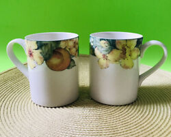 2 Royal Doulton Everyday China Coffee Mugs 1995 Georgia Peaches And Blooms