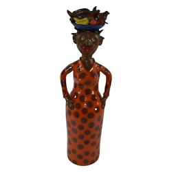 Marvin Bailey Folk Art Pottery Tall Woman With Pig And Fruit On Head Statue