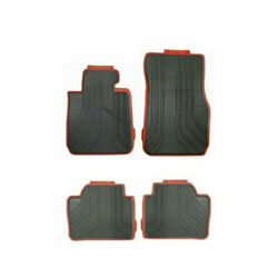 Genuine Oem Front And Rear Sport Line Black-red Rubber Floor Mats For Bmw F30 320i