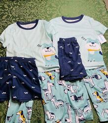 Nwt TWINS 4T 4 puppy dogs boxer beagle chihuahua husky summer pajamas carters
