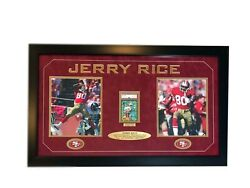 Jerry Rice Signed Authentic Rookie Card Framed Collage 49ers Signed Coa Psa