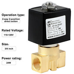 """3/8"""" 110v Ac Brass Electric Solenoid Valve Water Air Gas Fuel Normally Close N/c"""
