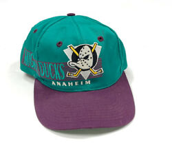 Vtg Nhl Anaheim Mighty Ducks Embroidered Big Graphic Snapback Hat 90s The Game
