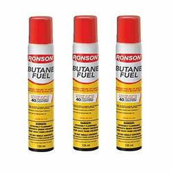 Ronson Lighter Butane Refill 135ml Pack Of 3 With Cleaning Cloths