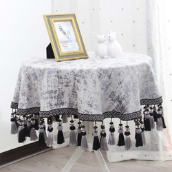 European Luxury King Round Table Cloth Gray Thick Chenille Tablecover +tassels