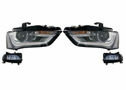 Left And Right Genuine Fog And Bi-xenon Headlights Curve Adj Kit For A4 S4 S-line Vw