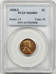 1928-s 1c Pcgs Ms 64 Rd Lincoln Wheat Penny