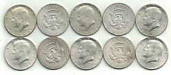 Ten 1965 To 1968 40 Silver Kennedy Half Dollars Some Are Uncirculated