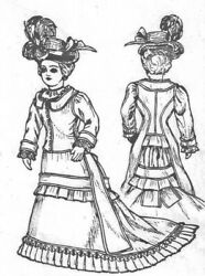 11-13antique French Fashion Lady Doll@1878-1883 Bustle Dress Hat Shoes Pattern