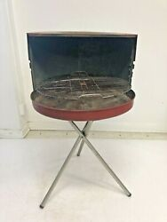 Mid Century Modern Bbq Grill Vintage 50s Metal Tripod Barbeque Red Porch Patio