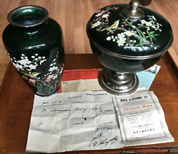 Cloisonne Inaba Vase And Candy Bowl With Original Paperwork
