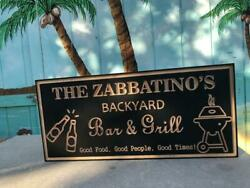 Personalized Backyard Sign Black Wood Engraved Bar And Grill Plaque