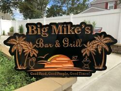Personalized Palm Tree Sign Black Wood Engraved Bar And Grill Plaque