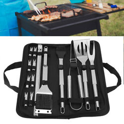 21pcs/set Bbq Outdoor Stainless Steel Barbecue Grill Tools Utensils Kit