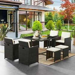 Tribesigns 9 Pcs Outdoor Patio Wicker Furniture Set Dining Table Chair W/ Pads