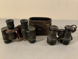 Lot Of 2 Vintage Antique Military Binoculars U.s. Army And Germany